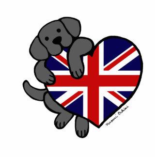 Black Labrador & UK Flag Heart 2 Cartoon Photo Sculpture Magnet
