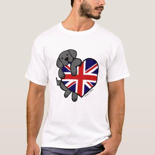 Black Labrador & UK Flag Heart 2 Cartoon T-Shirt