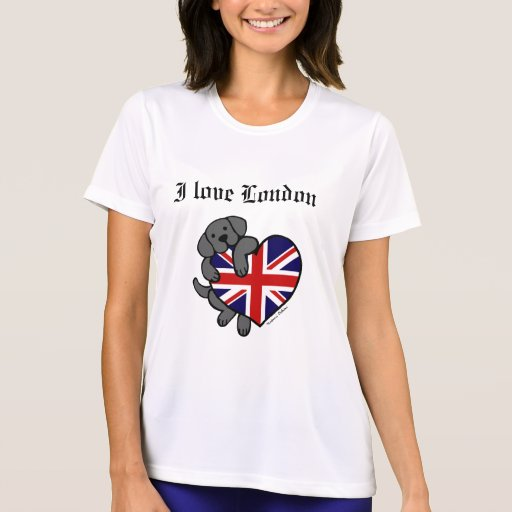 Black Labrador & UK Flag Heart 2 Cartoon T-Shirt