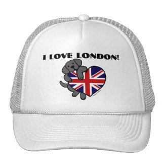 Black Labrador & UK Flag Heart 2 Cartoon Trucker Hat