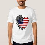 Black Labrador & US Flag Heart 2 Cartoon Shirt