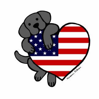 Black Labrador & US Flag Heart 2 Cartoon Statuette