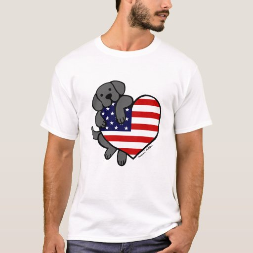 Black Labrador & US Flag Heart 2 Cartoon T-Shirt