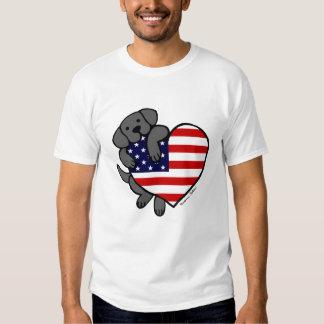 Black Labrador & US Flag Heart 2 Cartoon Tshirt