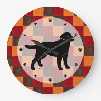 Black Labrador with a Little Tongue Large Clock