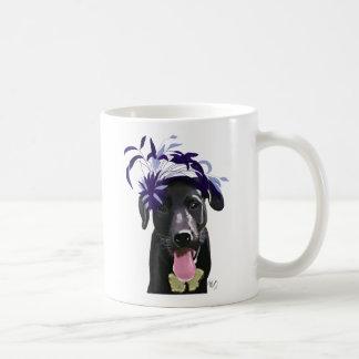 Black Labrador With Blue Fascinator Coffee Mug