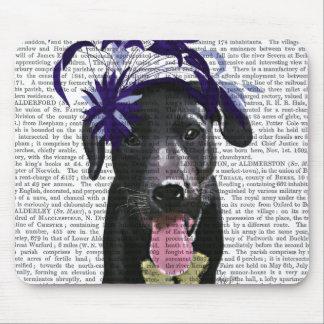 Black Labrador With Blue Fascinator Mouse Pad