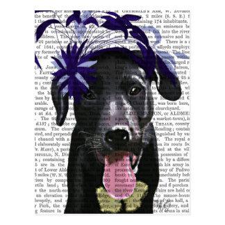Black Labrador With Blue Fascinator Postcard