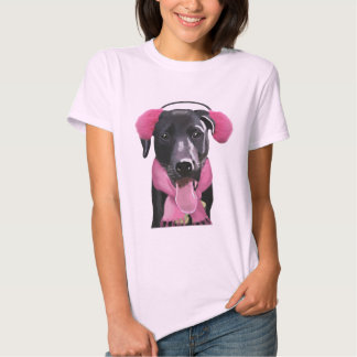 Black Labrador With Ear Muffs T-shirt