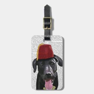 Black Labrador With Fez Bag Tag