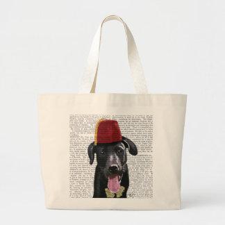 Black Labrador With Fez Large Tote Bag