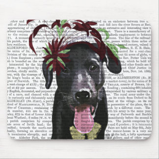 Black Labrador With Green Fascinator Mouse Pad