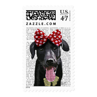 Black Labrador With Red Bow On Head Postage