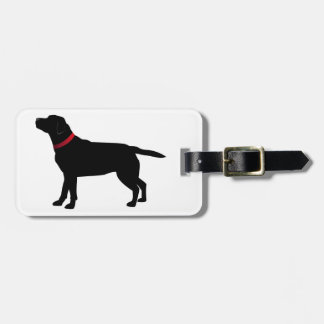 Black Labrador with Red Collar Bag Tag