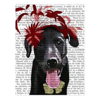 Black Labrador With Red Fascinator Postcard
