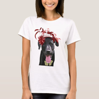 Black Labrador With Red Fascinator T-Shirt
