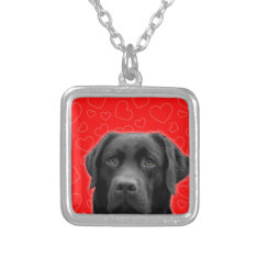 Black Labrador With Red Hearts Silver Plated Necklace at Zazzle