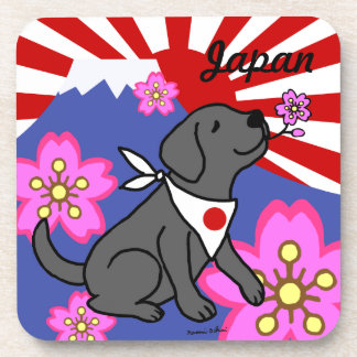 Black Labradors Japan Rising Sun Coaster