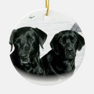 Black Labs Ceramic Ornament