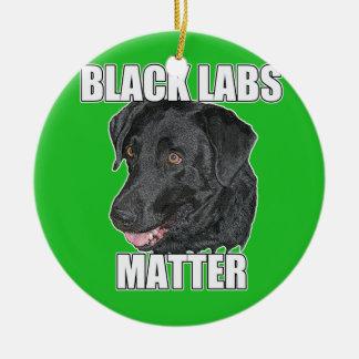 Black Labs Matter Two Ceramic Ornament