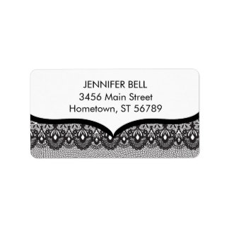 Black Lace Address Label