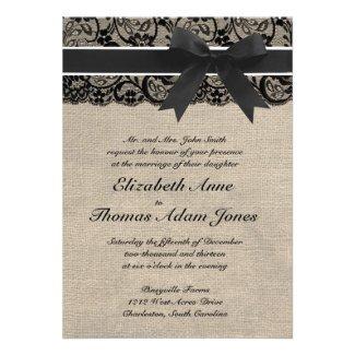 Black Lace and Burlap Wedding Invitation