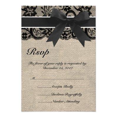 Black Lace and Burlap Wedding RSVP Card
