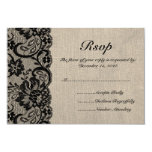 Black Lace and Burlap Wedding RSVP Card