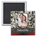 Black lace and damask 2 inch square magnet