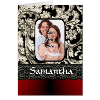 Black lace and damask card