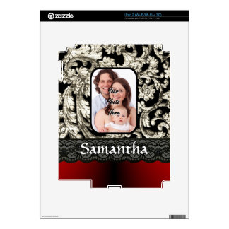 Black lace and damask iPad 2 decal