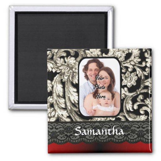 Black lace and damask fridge magnets