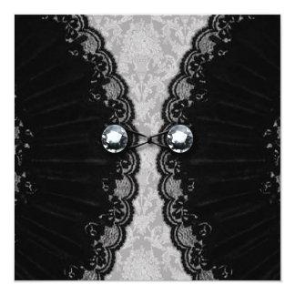 Black Lace and Diamond Look Goth Wedding Card