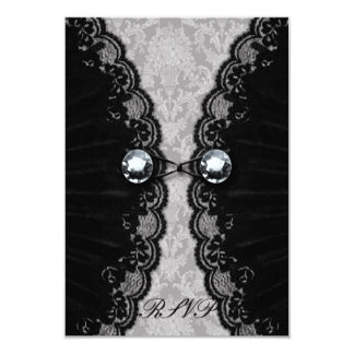 Black Lace and Diamond Look Goth Wedding 3.5x5 Paper Invitation Card