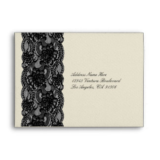 Black lace and Ivory Envelopes