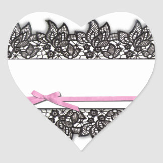 Black Lace and Pink Ribbon Heart Sticker