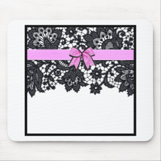 Black Lace and Pink Ribbon Mouse Pad