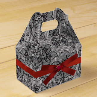 Black Lace and Red Satin Favor Box