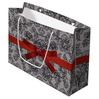 Black Lace and Red Satin Large Gift Bag