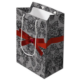 Black Lace and Red Satin Medium Gift Bag