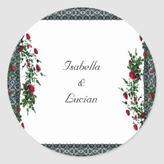 Black Lace and Roses Goth Wedding Classic Round Sticker