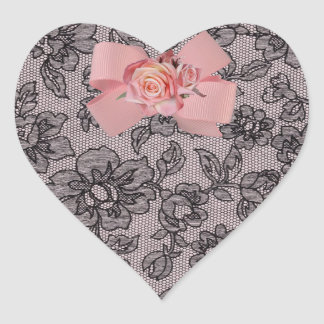Black Lace and Roses Heart Sticker