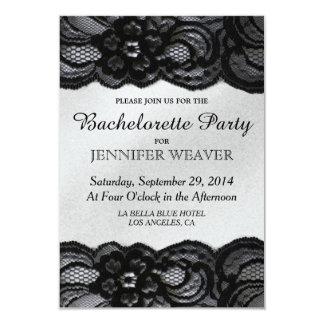 Black Lace and Satin Bachelorette Party Invitation