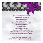 Black Lace and Satin Bow Goth Wedding 5.25x5.25 Square Paper Invitation Card