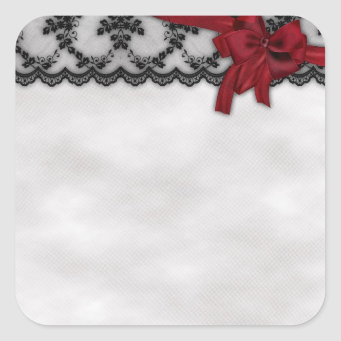 Black Lace and Satin Bow Goth Wedding Square Sticker