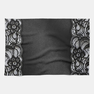 Black Lace and Satin Hand Towel