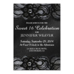 Black Lace and Satin Sweet 16 Celebration Party Card