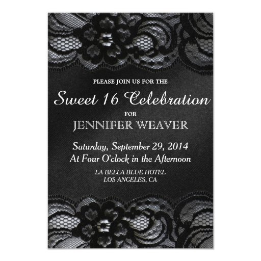 Black Lace and Satin Sweet 16 Celebration Party Personalized Announcement
