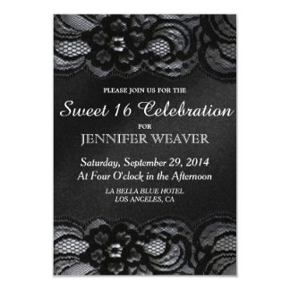 """Black Lace and Satin Sweet 16 Celebration Party 3.5"""" X 5"""" Invitation Card"""