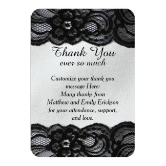 Black Lace and Satin Thank You Cards